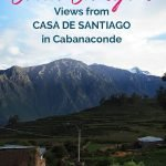 View of the canyon and fields with the text: Where to stay at Colca Canyon - Views from Casa de Santiango in Cabanaconde