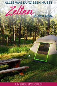 Zelt auf einem Zeltplatz in den USA umzingelt von Bäumen - mit dem Text: Alles was du wissen musst - Zelten in den USA