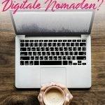 Laptop und Hände, die einen Kaffee halten auf einem Tisch und der Text:Dropshipping - Eine gute Einnahmequelle für digitale Nomaden