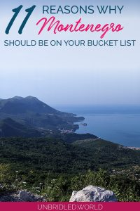 Coast of Montenegro from a view point with the text: 11 reasons why Montenegro should be on your bucket list