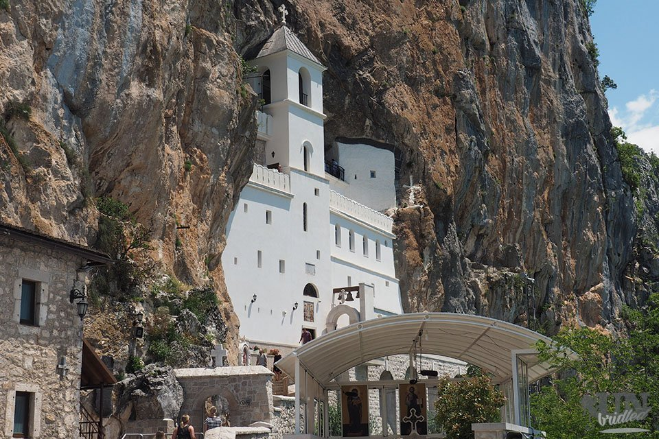 Ostrog Monastery in Montengro is built in the mountain