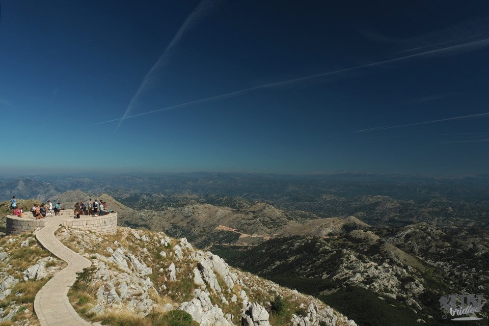 Round platform on top of a mountain in Lovcen National Park surrounded by a mountain lanscape