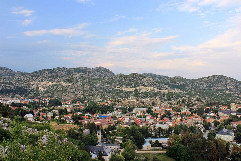 Cetinje in Montenegro with Lovcen National Park in the background