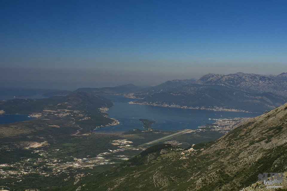 View of a bay and mountains from Lovcen National Park
