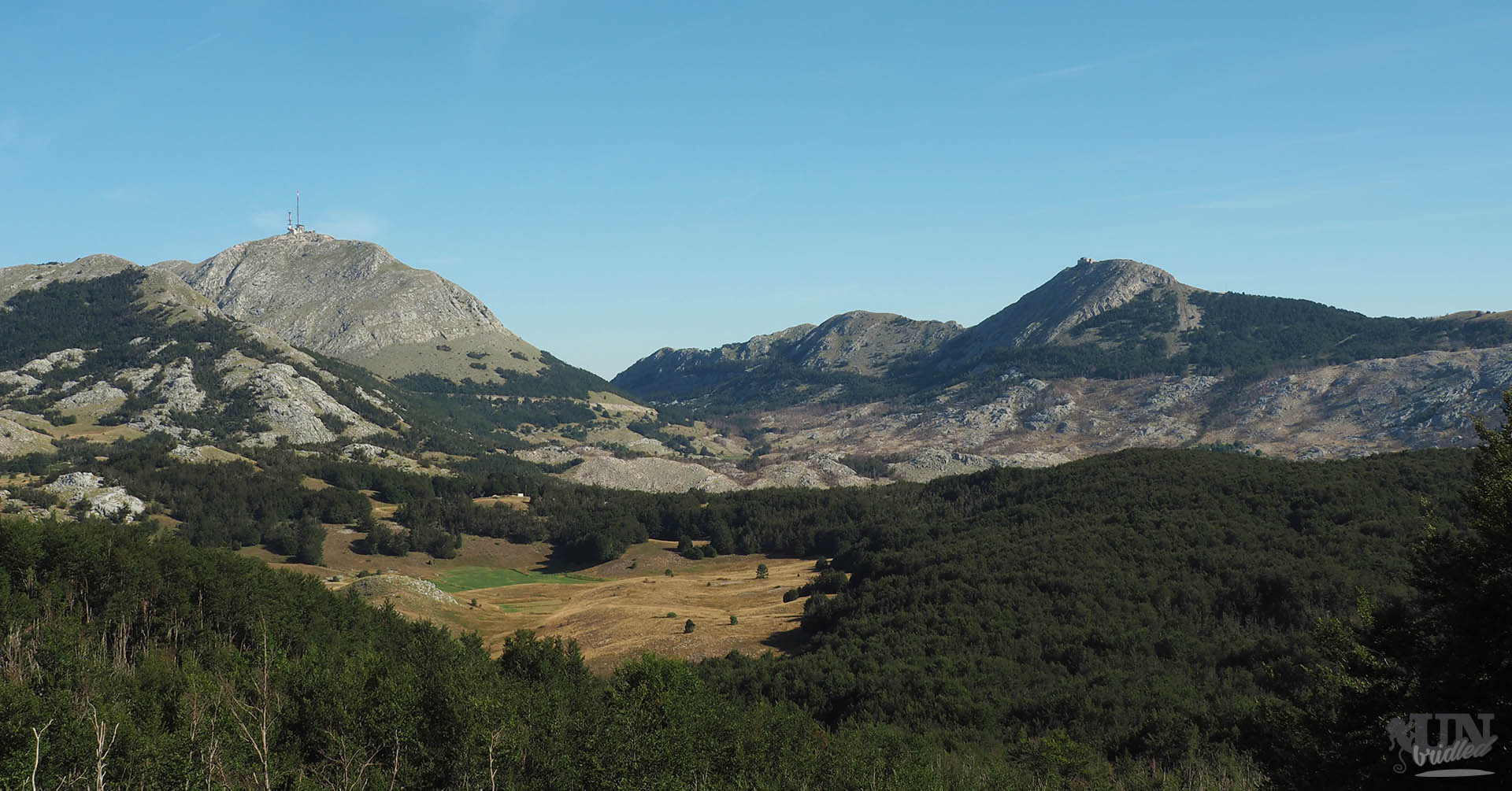 View of the tallest peaks from a hiking trail in Lovcen National Park