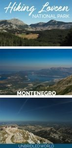 Mountain sceneries with stunning views and the text: Hiking in Lovcen National Park, Montenegro