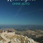 Aussichtsplattform in den Bergen mit dem Text: Lovcen Nationalpark Ohne Auto