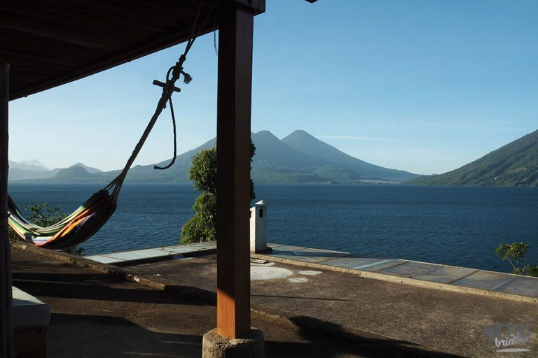 View of Lake Atitlan in Guatemala from a roof top terrace