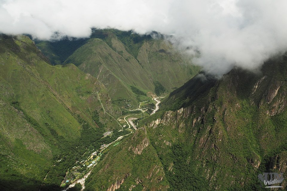 View of a green valley from Machu Picchu