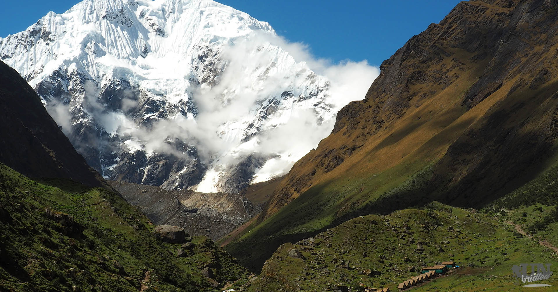 View of the first camp and Mount Salkantay from the Salkantay Trek to Machu Picchu