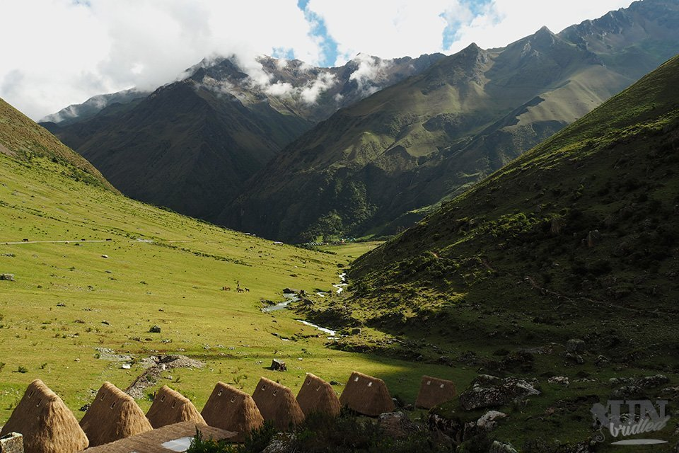 View of the first campsite on the Salkantay Trek with mountains in the background