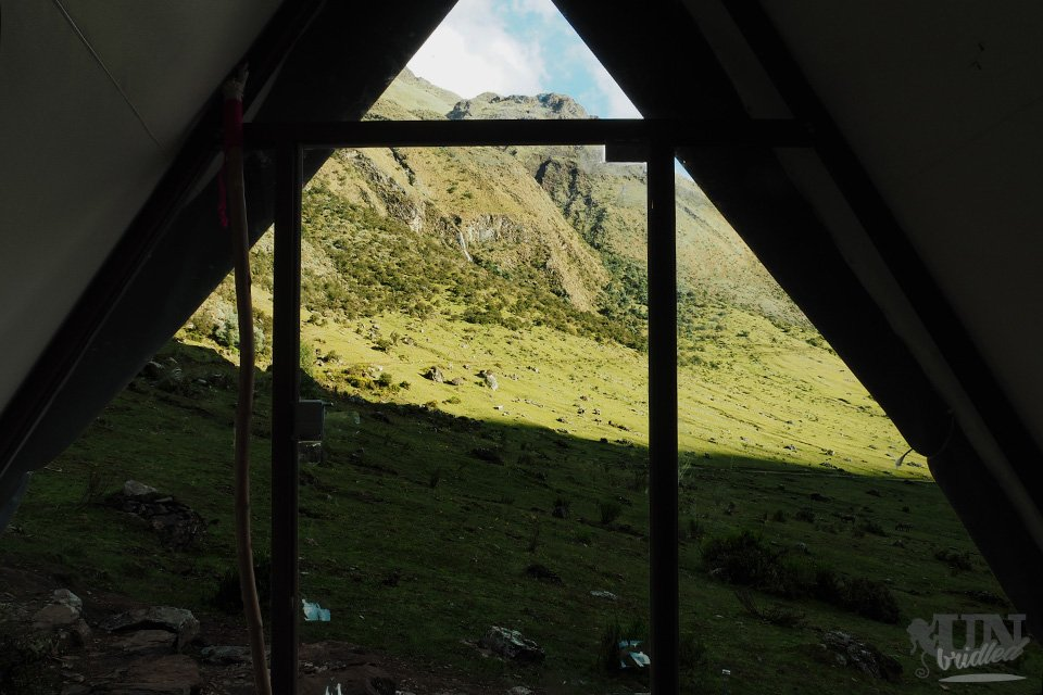 View out of the mountain hut (tent)