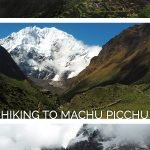 Machu Picchu and mountain sceneries with the text: Salkantay Trek - Hiking to Machu Picchu