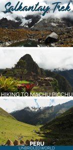 Mountain sceneries and Machu Picchu with the text: Salkantay Trek - Hiking to Machu Picchu