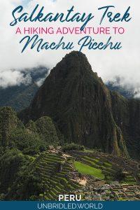 Machu Picchu with the text: Salkantay Trek - A hiking adventure to Machu Picchu