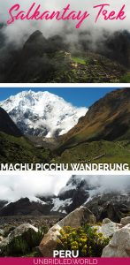 Drei Bilder vom Salkantay Trek, inklusive Machu Picchu mit dem Text: Salkantay Trek - Machu Picchu Wanderung