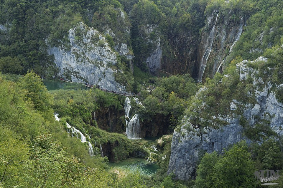 Waterfalls in a valley, photo taken from a higher point