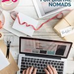 Laptop with crafting stuff and the text overlay: 20+ Gift Ideas for Digital Nomads