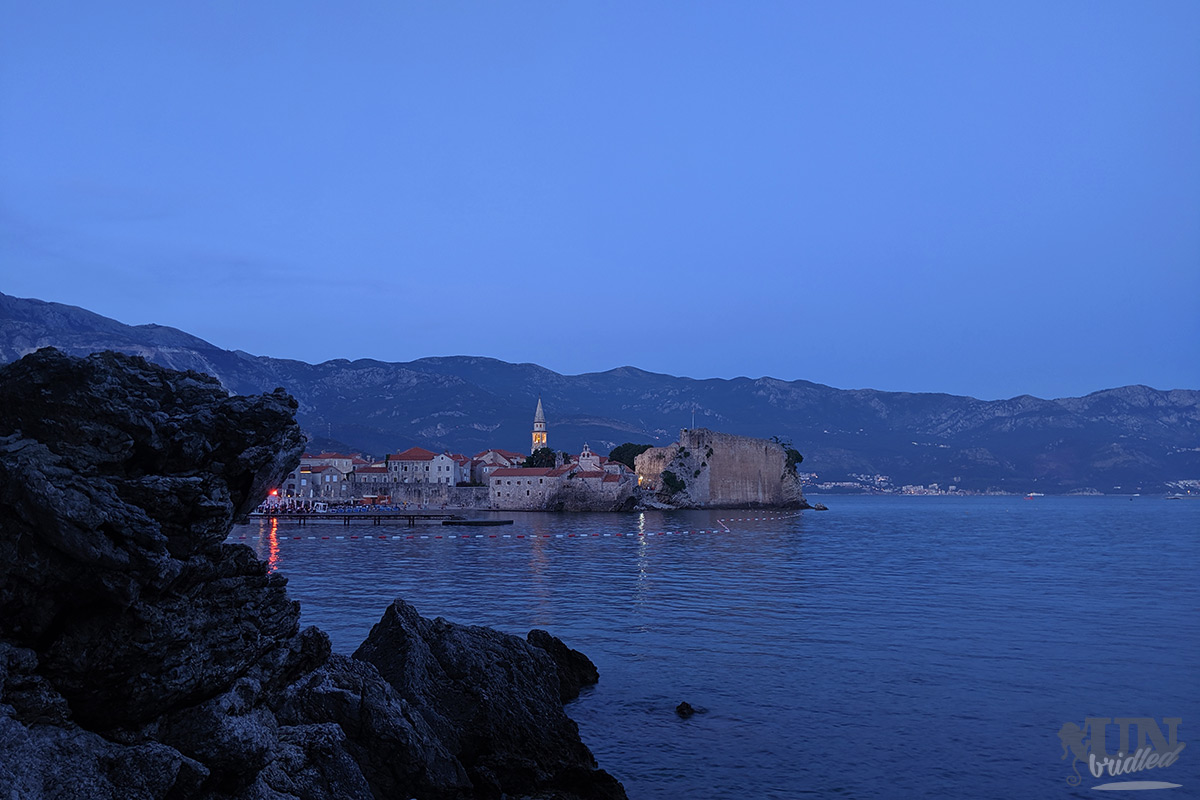 View of Budva old town at night