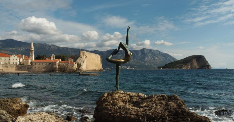 Photo of Budva old town with the ballerina statue