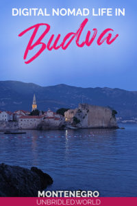 Photo of Budva old town at night with the text: Digital Nomad Life in Budva