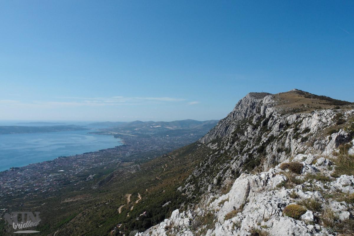 View of Kozjak mountain ridge and the coast