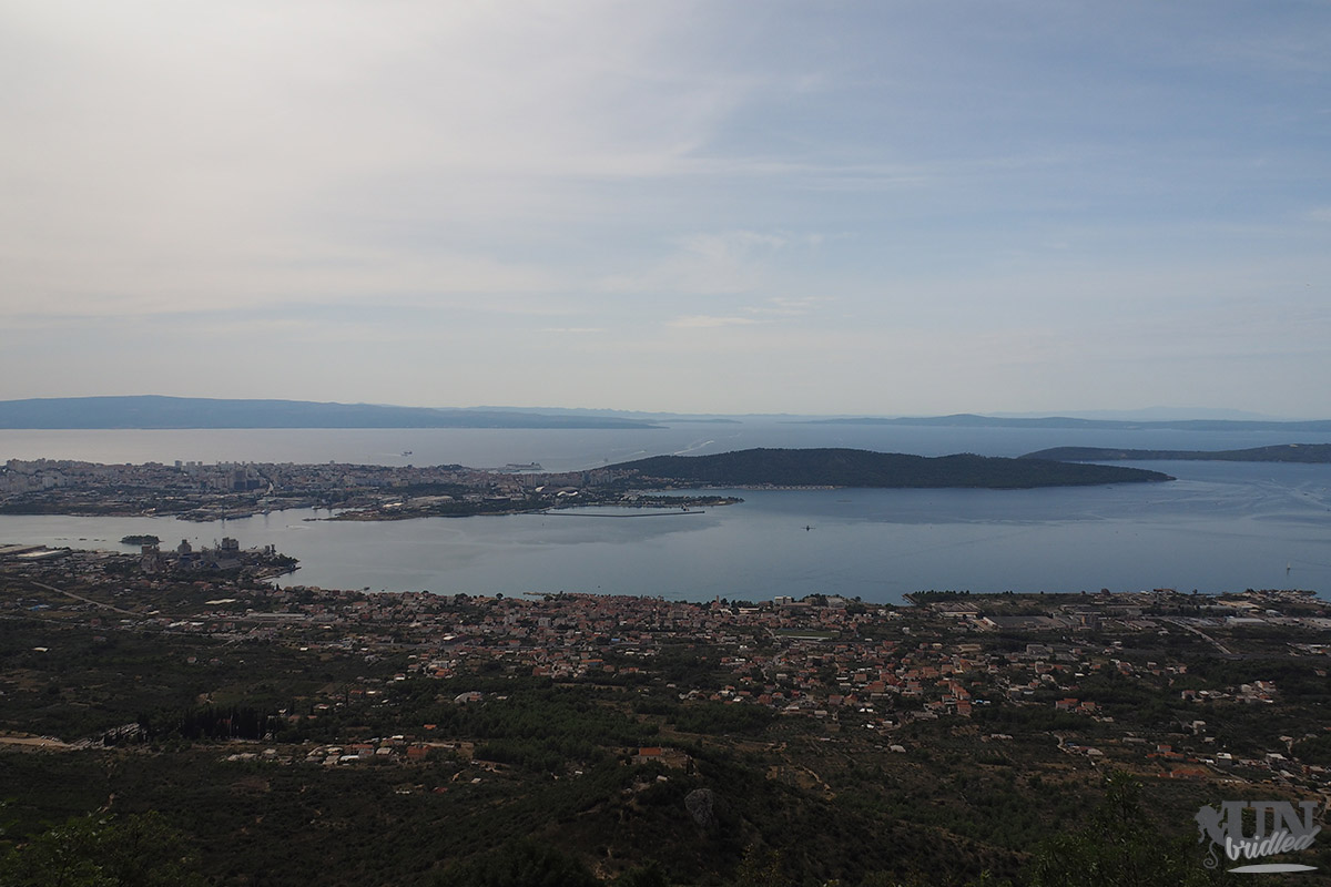 View of Split and the coastal area as well as some islands in the distance