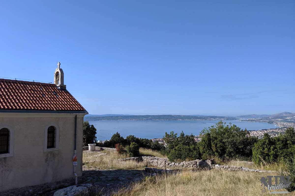 Church with a coastal scenery as the background