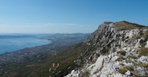 View of Kozjak mountain and coastal scene in Croatia