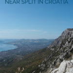 Mountain scenery with the text: Hiking Trails near Split in Croatia