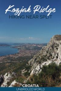 Mountain scenery with the text: Kozjak Ridge - Hiking near Split