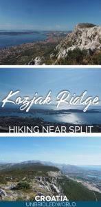 Images of mountain landscapes and the text: Kozjak Ridge - Hiking near Split, Croatia