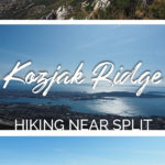 Images of mountain landscapes and the text: Kozjak Ridge - Hiking near Split, Croatia