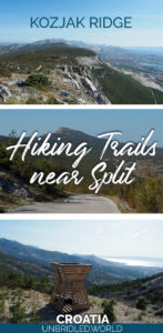 Images of mountain landscapes and the text: Kozjak Ridge - Hiking Trails near Split, Croatia