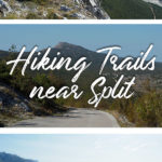 Images of mountain landscapes and the text: Kozjak Ridge - Hiking Trails near Split, Croatia
