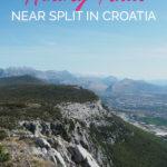 Mountain scenery with the text: Kozjak Ridge - Hiking Trails near Split in Croatia