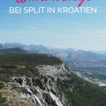 Berglandschaft mit dem Text: Kozjak Bergkamm - Wanderwege bei Split in Kroatien
