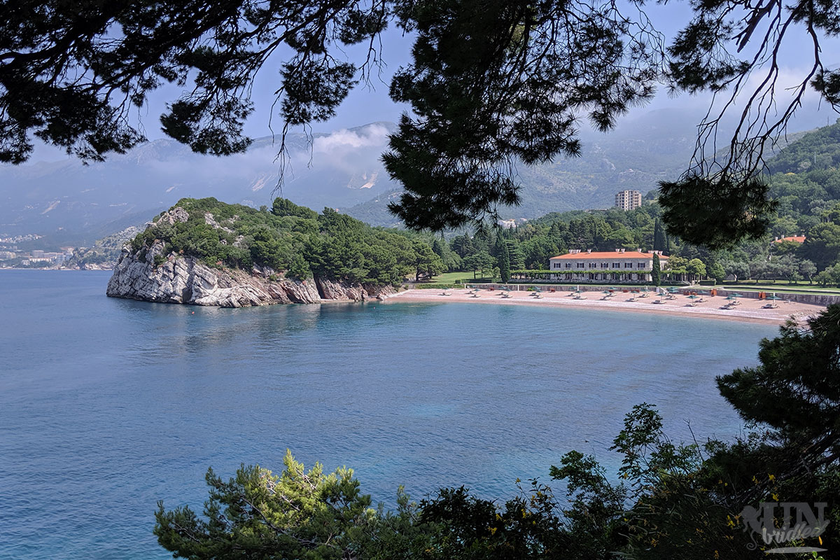 Beach and coastal view from a hiking trail around Budva