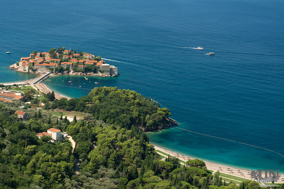 The island of Sveti Stefan and the blue ocean