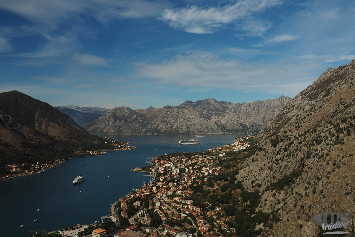 View of a bay area, a city, and mountains - Kotor Bay from a hiking trail