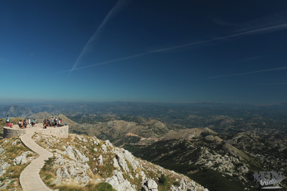 A round view point platform with mountains around at Lovcen National Park