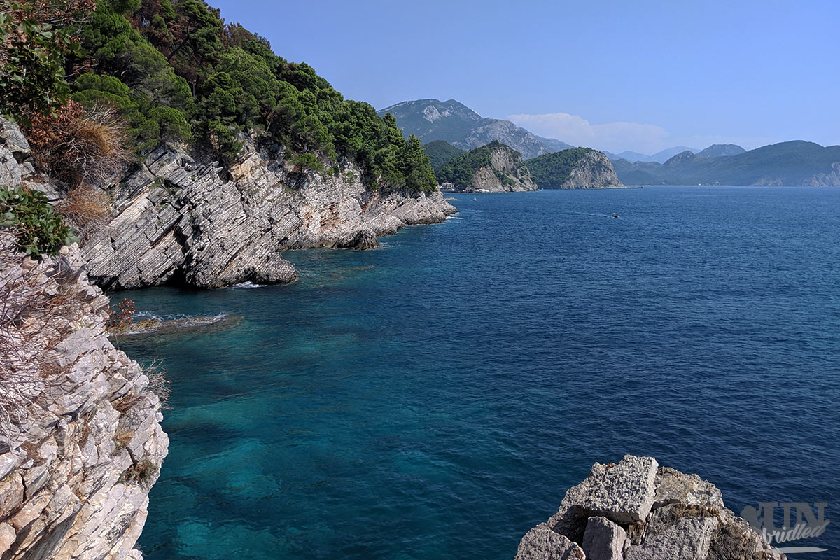 Rocky coastal scene with blue sea in Petrovac