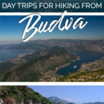 Photos of mountainous landscapes as well as coastal scenes with the text: Day trips for hiking from Budva, Montenegro