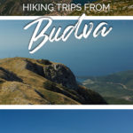 Photos of mountainous landscapes as well as coastal scenes with the text: Hiking trips from Budva, Montenegro